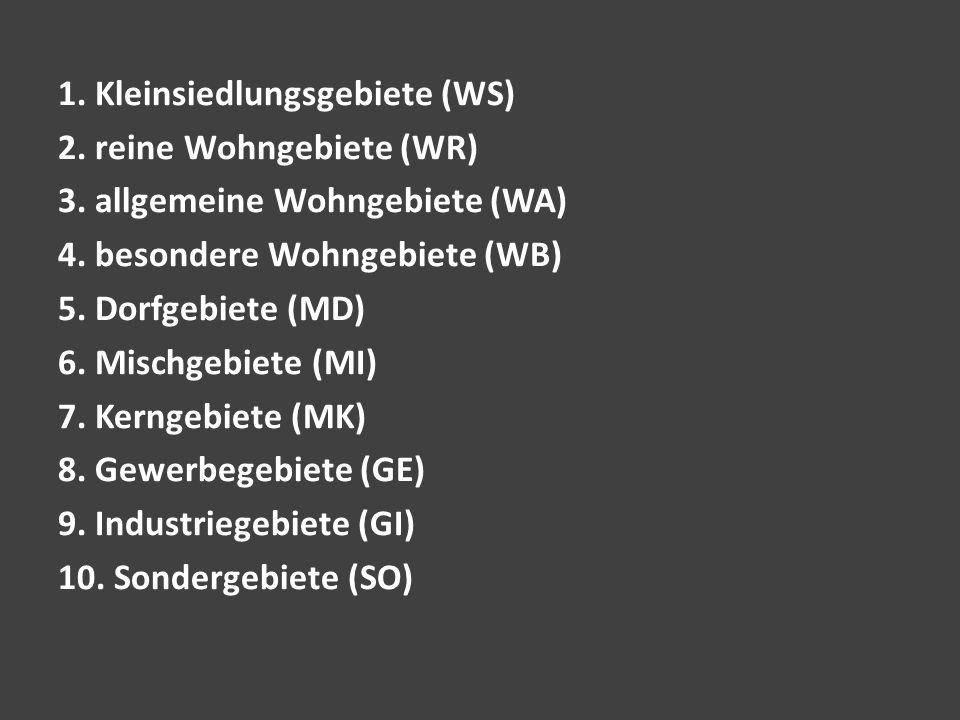 1. Kleinsiedlungsgebiete (WS) 2. reine Wohngebiete (WR) 3. allgemeine Wohngebiete (WA) 4. besondere Wohngebiete (WB) 5. Dorfgebiete (MD) 6. Mischgebie