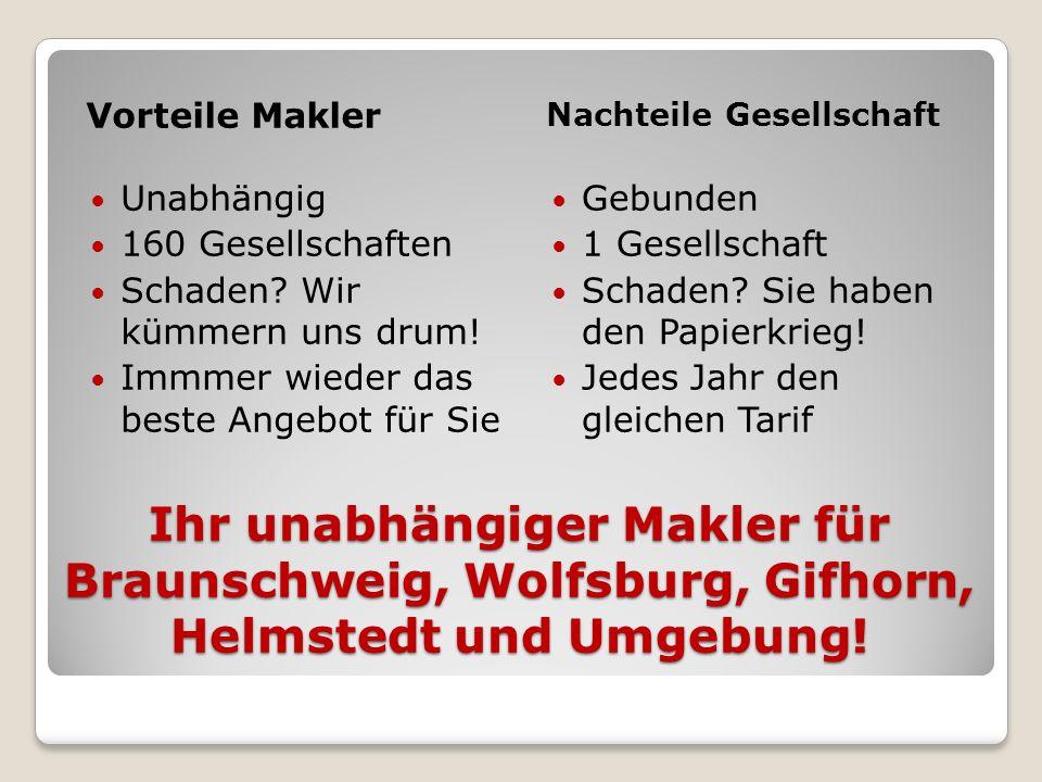 Ihr unabhängiger Makler für Braunschweig, Wolfsburg, Gifhorn, Helmstedt und Umgebung! Vorteile Makler Nachteile Gesellschaft Unabhängig 160 Gesellscha