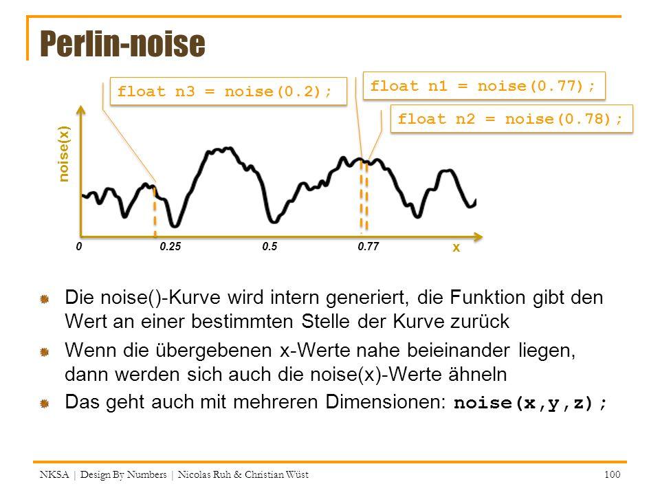 Perlin-noise Die noise()-Kurve wird intern generiert, die Funktion gibt den Wert an einer bestimmten Stelle der Kurve zurück Wenn die übergebenen x-We