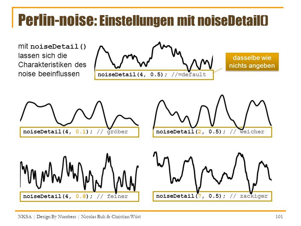 Perlin-noise: Einstellungen mit noiseDetail() mit noiseDetail() lassen sich die Charakteristiken des noise beeinflussen NKSA | Design By Numbers | Nic