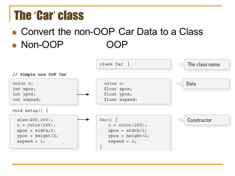 The Car class Convert the non-OOP Car Data to a Class Non-OOPOOP