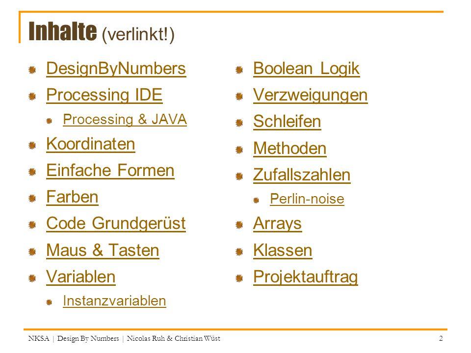 Inhalte (verlinkt!) DesignByNumbers Processing IDE Processing & JAVA Koordinaten Einfache Formen Farben Code Grundgerüst Maus & Tasten Variablen Insta