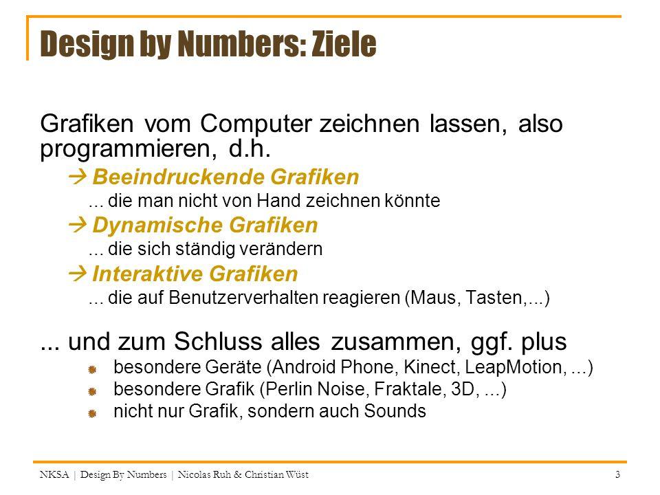 Mausklicks und Tastendrucke NKSA | Design By Numbers | Nicolas Ruh & Christian Wüst 44 Zwei weitere vorgegebene Methoden: 1.