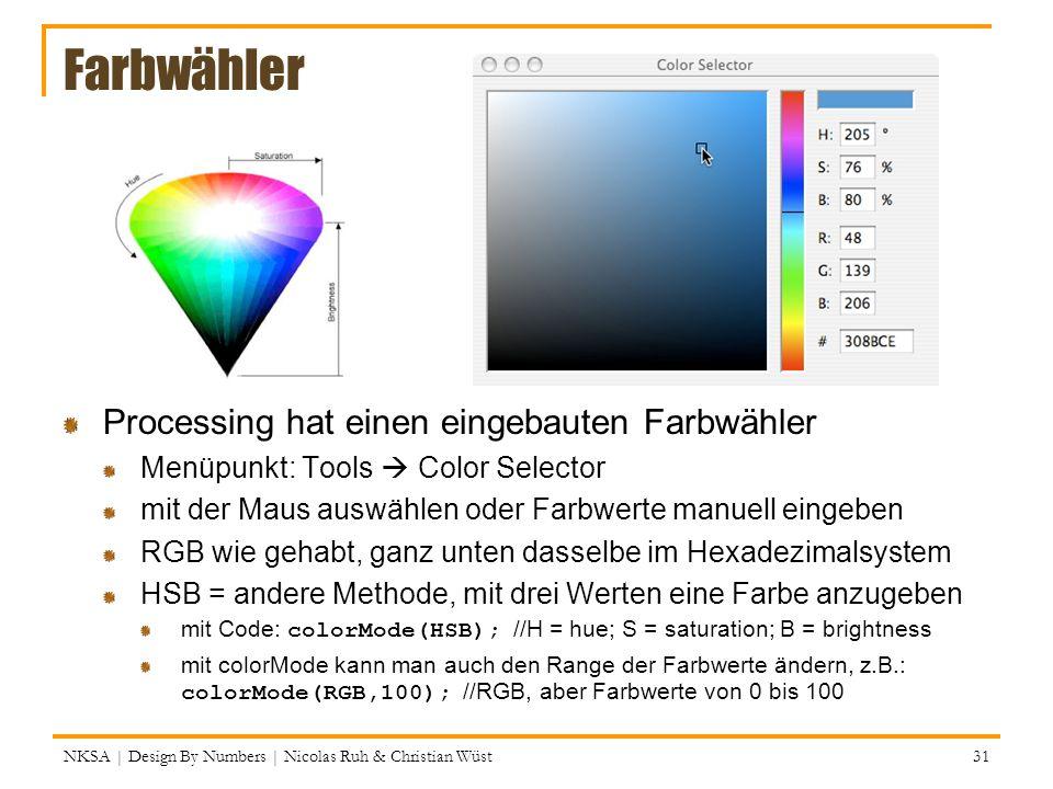 Farbwähler Processing hat einen eingebauten Farbwähler Menüpunkt: Tools Color Selector mit der Maus auswählen oder Farbwerte manuell eingeben RGB wie