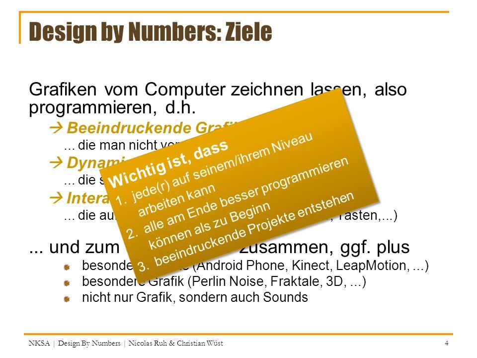 Design by Numbers: Ziele Grafiken vom Computer zeichnen lassen, also programmieren, d.h. Beeindruckende Grafiken... die man nicht von Hand zeichnen kö