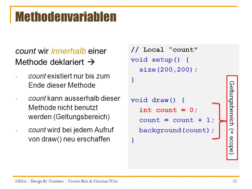 Methodenvariablen // Local count void setup() { size(200,200); } void draw() { int count = 0; count = count + 1; background(count); } count wir innerhalb einer Methode deklariert count existiert nur bis zum Ende dieser Methode count kann ausserhalb dieser Methode nicht benutzt werden (Geltungsbereich) count wird bei jedem Aufruf von draw() neu erschaffen NKSA | Design By Numbers | Nicolas Ruh & Christian Wüst 55 Geltungsbereich (= scope)