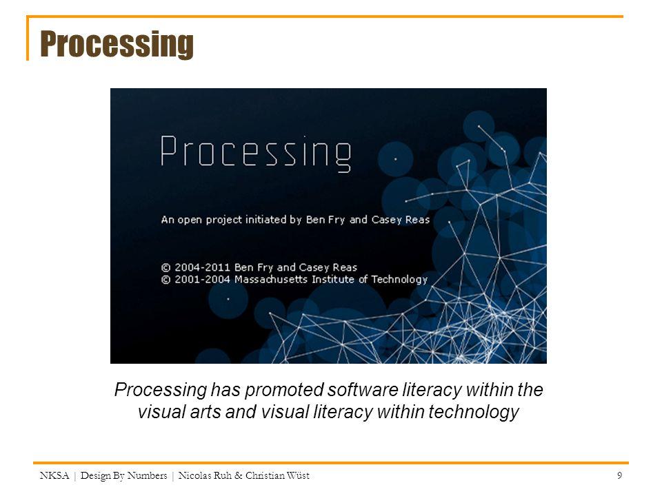 Processing IDE (integrated development environment) Processing hat eine einfache IDE, die beim Erstellen und Verwalten von Programmen (=Sketches) hilft File: New, Open, Quit, Examples.
