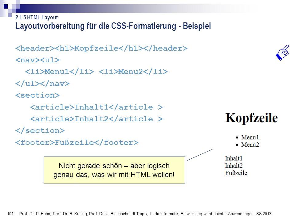 101 Layoutvorbereitung für die CSS-Formatierung - Beispiel Kopfzeile Menu1 Menu2 Inhalt1 Inhalt2 Fußzeile Prof. Dr. R. Hahn, Prof. Dr. B. Kreling, Pro