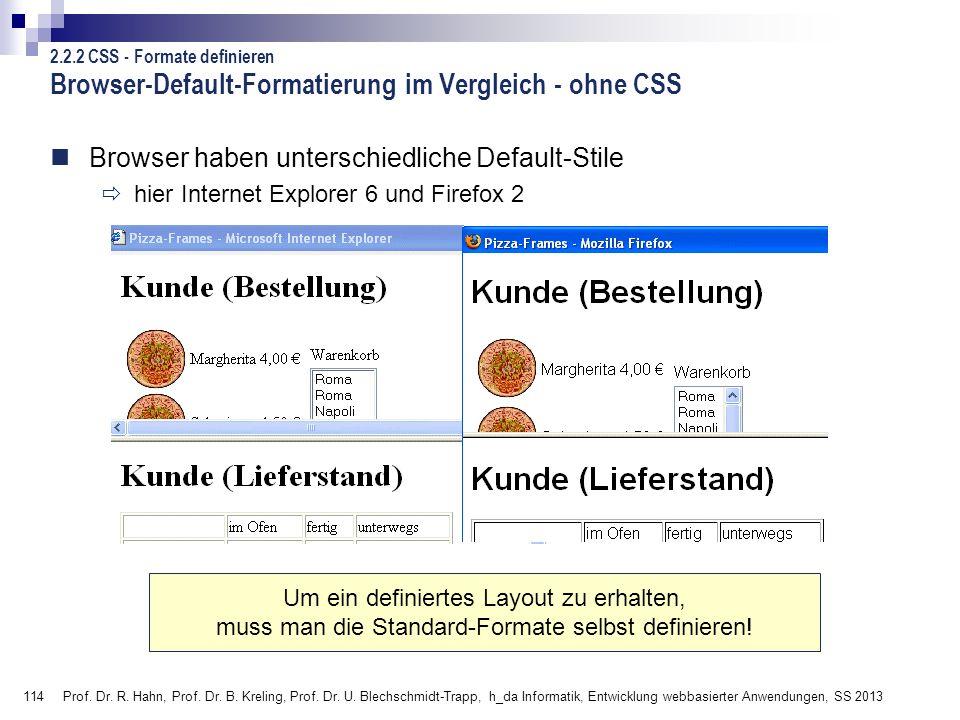 114 Prof. Dr. R. Hahn, Prof. Dr. B. Kreling, Prof. Dr. U. Blechschmidt-Trapp, h_da Informatik, Entwicklung webbasierter Anwendungen, SS 2013 Browser-D