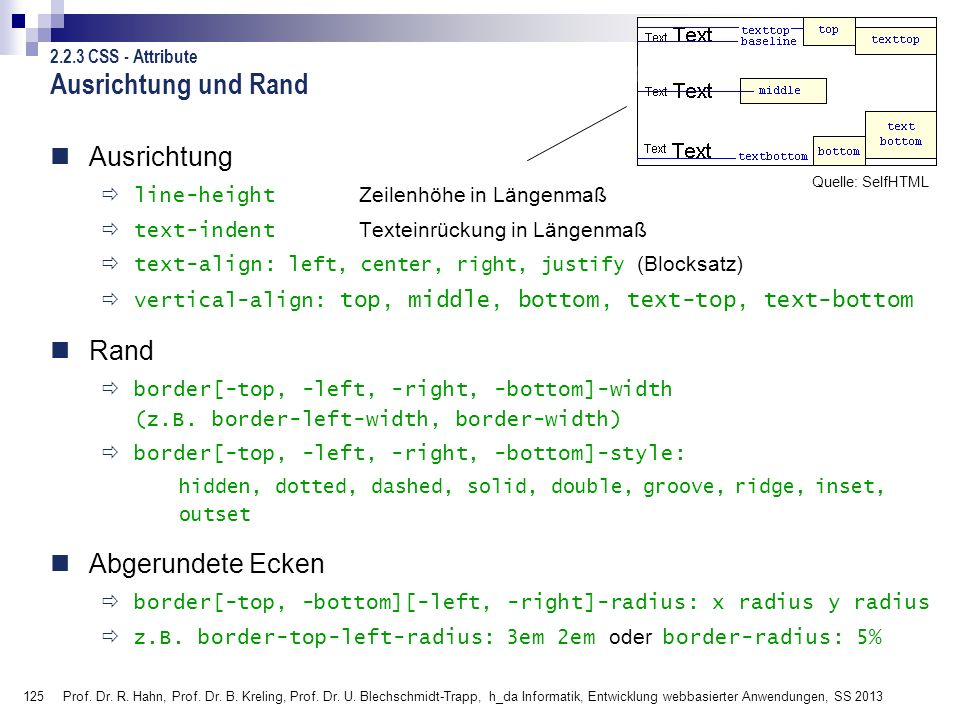 125 Prof. Dr. R. Hahn, Prof. Dr. B. Kreling, Prof. Dr. U. Blechschmidt-Trapp, h_da Informatik, Entwicklung webbasierter Anwendungen, SS 2013 Ausrichtu