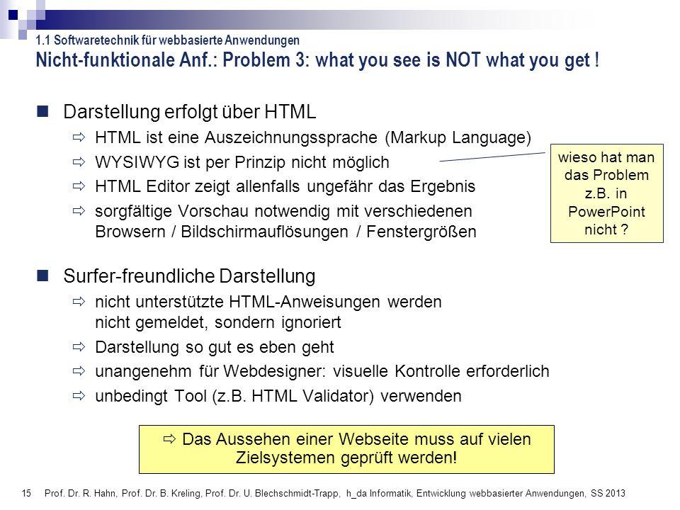 15 Prof. Dr. R. Hahn, Prof. Dr. B. Kreling, Prof. Dr. U. Blechschmidt-Trapp, h_da Informatik, Entwicklung webbasierter Anwendungen, SS 2013 wieso hat