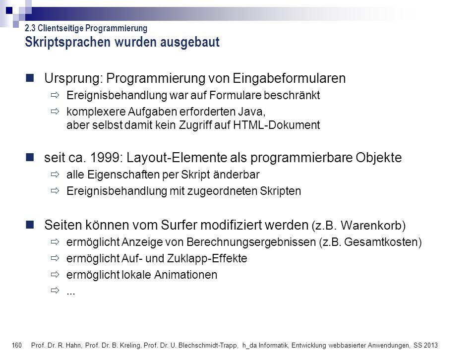160 Prof. Dr. R. Hahn, Prof. Dr. B. Kreling, Prof. Dr. U. Blechschmidt-Trapp, h_da Informatik, Entwicklung webbasierter Anwendungen, SS 2013 Ursprung: