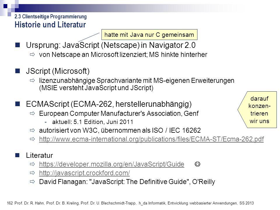 162 Prof. Dr. R. Hahn, Prof. Dr. B. Kreling, Prof. Dr. U. Blechschmidt-Trapp, h_da Informatik, Entwicklung webbasierter Anwendungen, SS 2013 Ursprung: