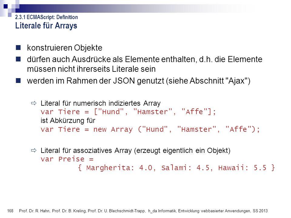 168 Prof. Dr. R. Hahn, Prof. Dr. B. Kreling, Prof. Dr. U. Blechschmidt-Trapp, h_da Informatik, Entwicklung webbasierter Anwendungen, SS 2013 2.3.1 ECM