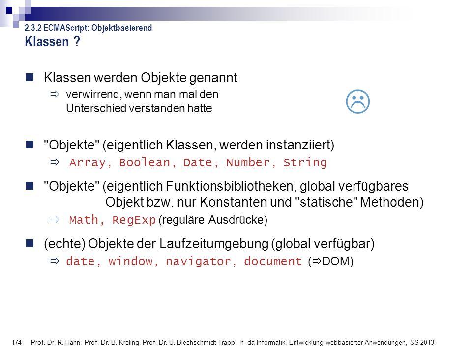 174 Prof. Dr. R. Hahn, Prof. Dr. B. Kreling, Prof. Dr. U. Blechschmidt-Trapp, h_da Informatik, Entwicklung webbasierter Anwendungen, SS 2013 2.3.2 ECM