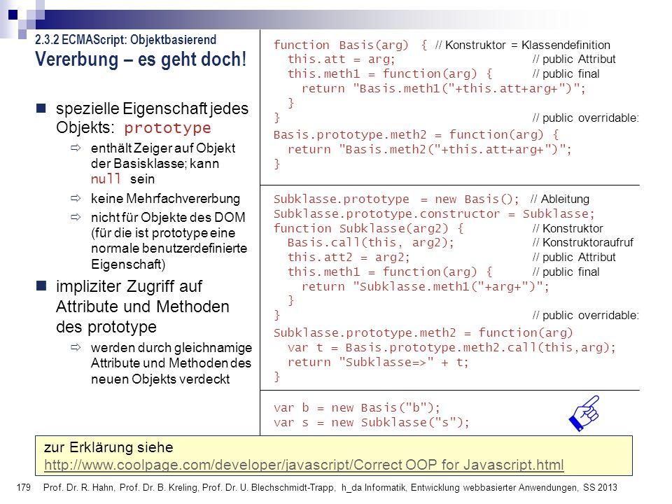 179 Prof. Dr. R. Hahn, Prof. Dr. B. Kreling, Prof. Dr. U. Blechschmidt-Trapp, h_da Informatik, Entwicklung webbasierter Anwendungen, SS 2013 2.3.2 ECM