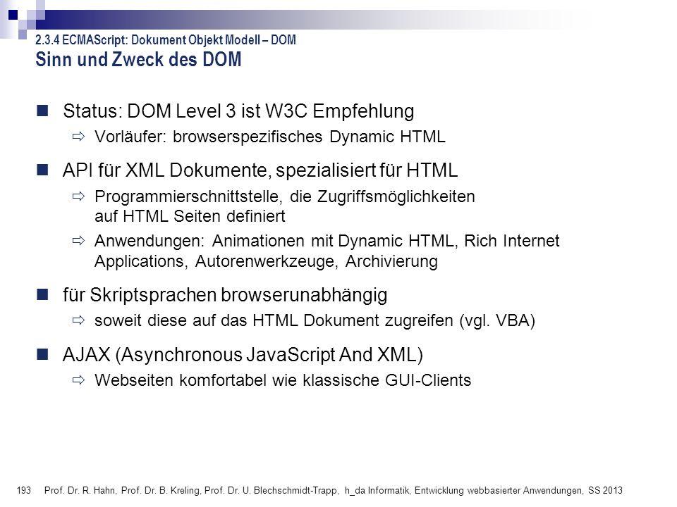 193 Prof. Dr. R. Hahn, Prof. Dr. B. Kreling, Prof. Dr. U. Blechschmidt-Trapp, h_da Informatik, Entwicklung webbasierter Anwendungen, SS 2013 Sinn und