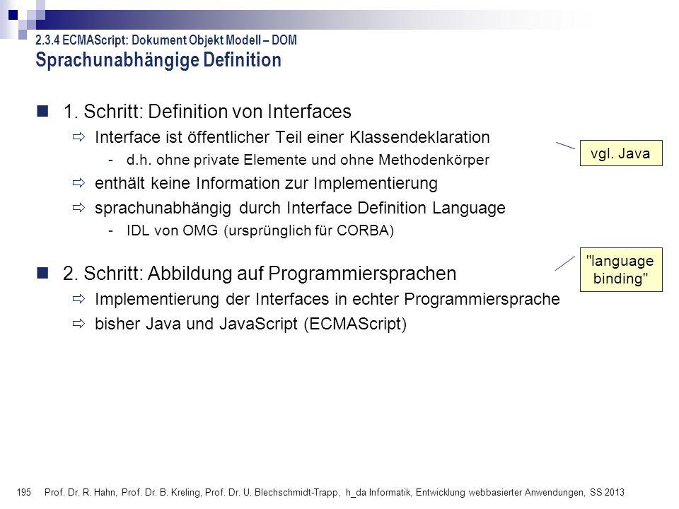 195 Prof. Dr. R. Hahn, Prof. Dr. B. Kreling, Prof. Dr. U. Blechschmidt-Trapp, h_da Informatik, Entwicklung webbasierter Anwendungen, SS 2013 Sprachuna