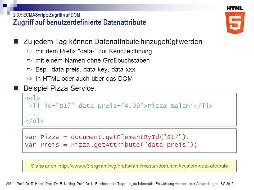 206 Zugriff auf benutzerdefinierte Datenattribute Zu jedem Tag können Datenattribute hinzugefügt werden mit dem Prefix