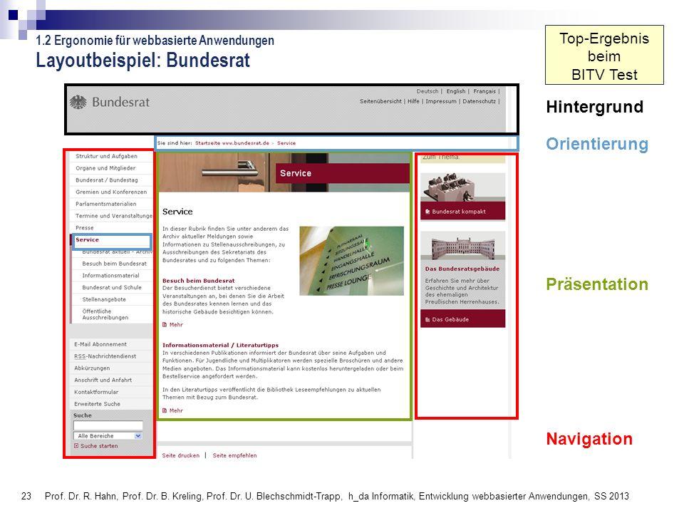 23 Prof. Dr. R. Hahn, Prof. Dr. B. Kreling, Prof. Dr. U. Blechschmidt-Trapp, h_da Informatik, Entwicklung webbasierter Anwendungen, SS 2013 Orientieru