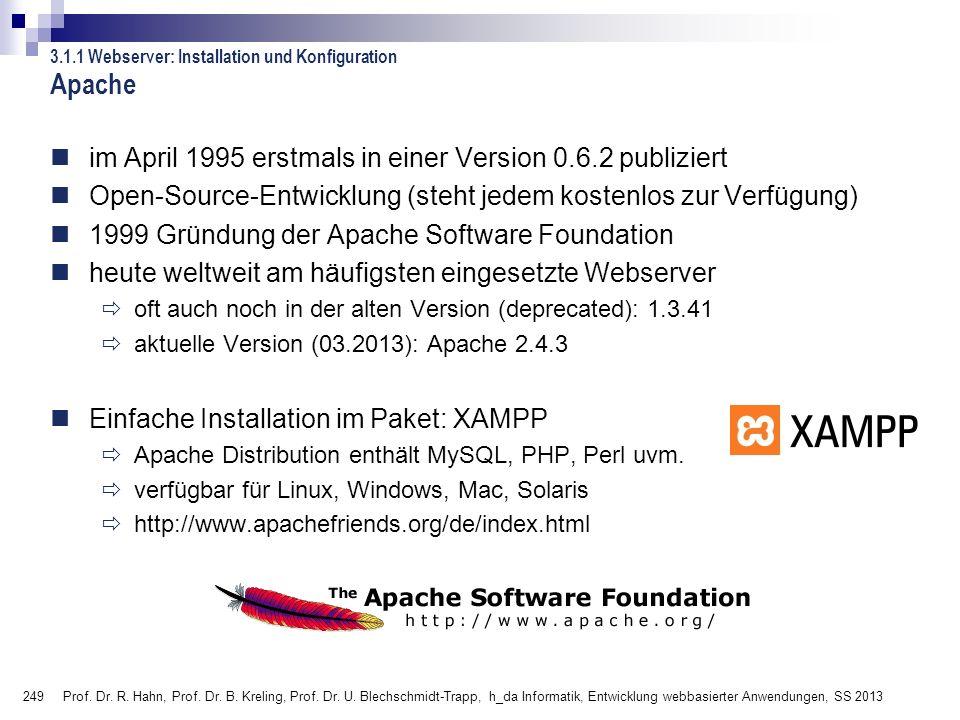249 Prof. Dr. R. Hahn, Prof. Dr. B. Kreling, Prof. Dr. U. Blechschmidt-Trapp, h_da Informatik, Entwicklung webbasierter Anwendungen, SS 2013 3.1.1 Web