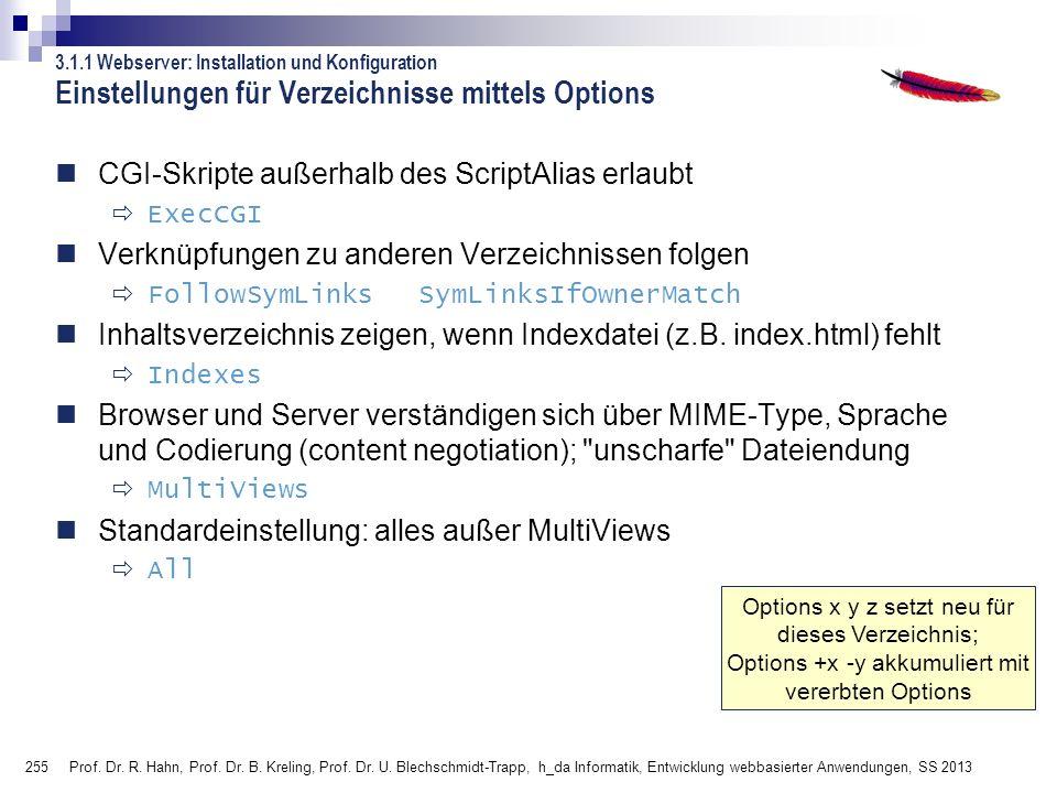255 Prof. Dr. R. Hahn, Prof. Dr. B. Kreling, Prof. Dr. U. Blechschmidt-Trapp, h_da Informatik, Entwicklung webbasierter Anwendungen, SS 2013 Options x