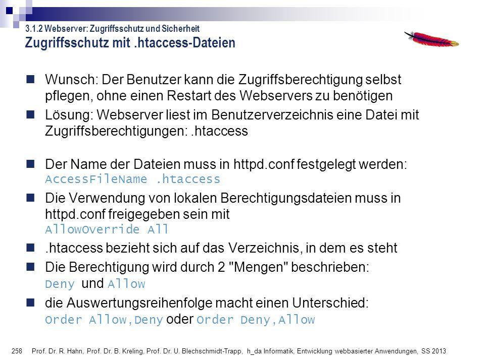 258 Prof. Dr. R. Hahn, Prof. Dr. B. Kreling, Prof. Dr. U. Blechschmidt-Trapp, h_da Informatik, Entwicklung webbasierter Anwendungen, SS 2013 Zugriffss