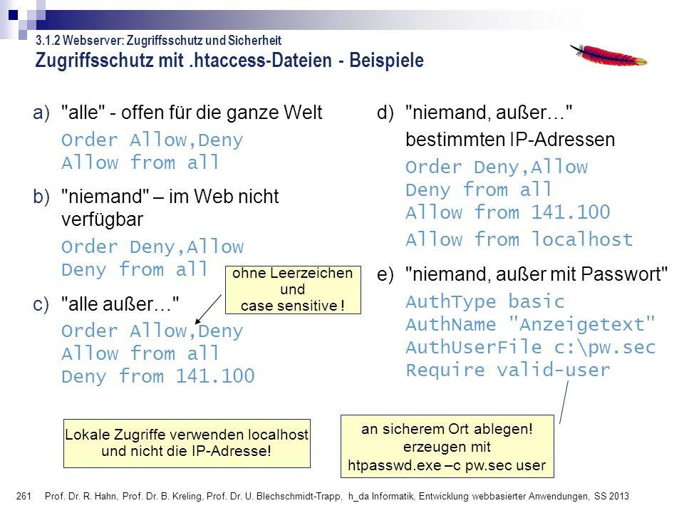 261 Prof. Dr. R. Hahn, Prof. Dr. B. Kreling, Prof. Dr. U. Blechschmidt-Trapp, h_da Informatik, Entwicklung webbasierter Anwendungen, SS 2013 Zugriffss