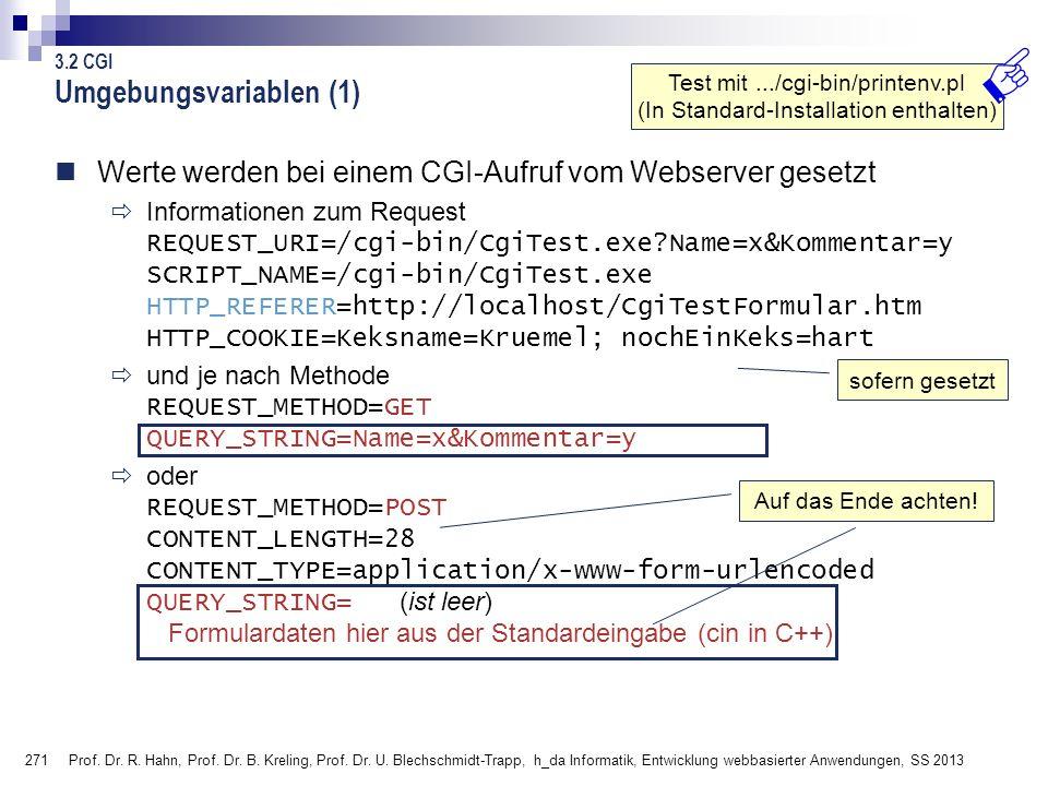 271 Prof. Dr. R. Hahn, Prof. Dr. B. Kreling, Prof. Dr. U. Blechschmidt-Trapp, h_da Informatik, Entwicklung webbasierter Anwendungen, SS 2013 Umgebungs
