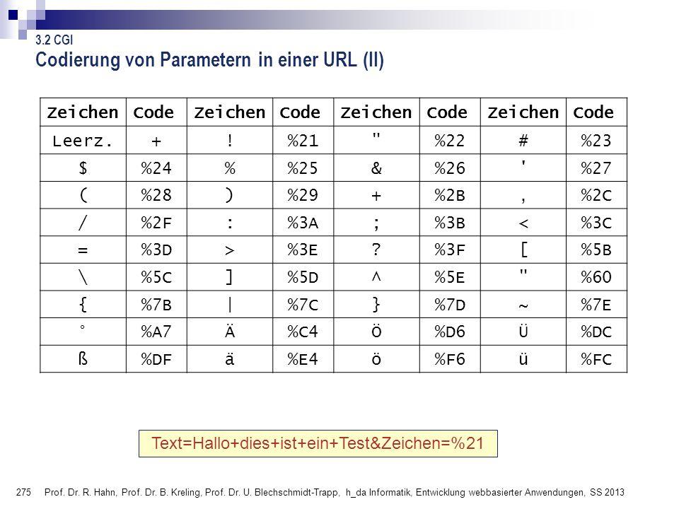 275 Prof. Dr. R. Hahn, Prof. Dr. B. Kreling, Prof. Dr. U. Blechschmidt-Trapp, h_da Informatik, Entwicklung webbasierter Anwendungen, SS 2013 ZeichenCo