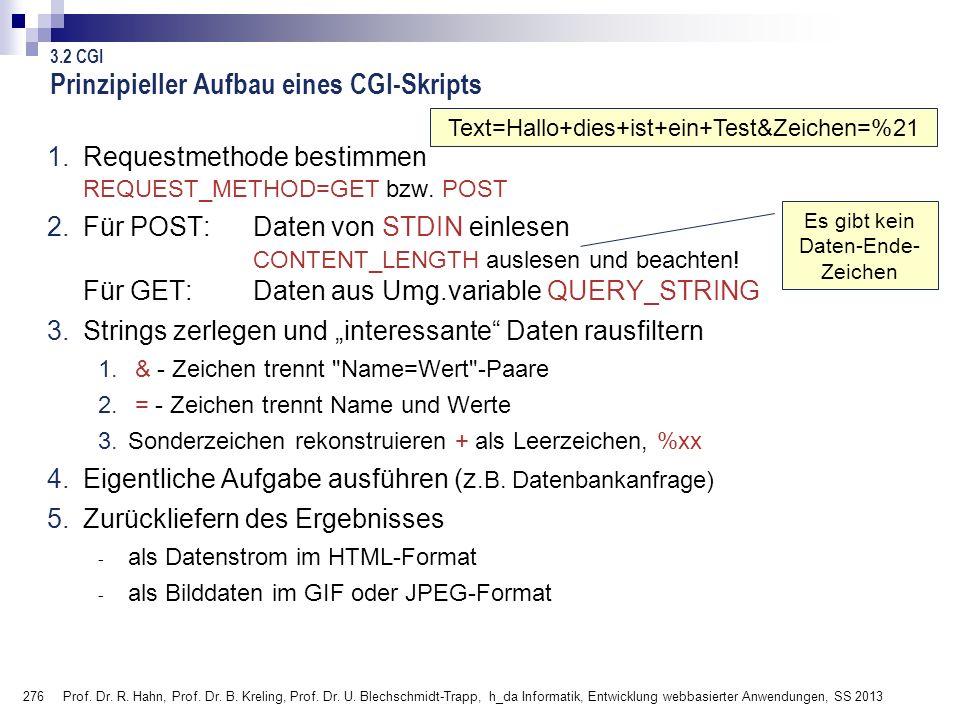 276 Prof. Dr. R. Hahn, Prof. Dr. B. Kreling, Prof. Dr. U. Blechschmidt-Trapp, h_da Informatik, Entwicklung webbasierter Anwendungen, SS 2013 Es gibt k