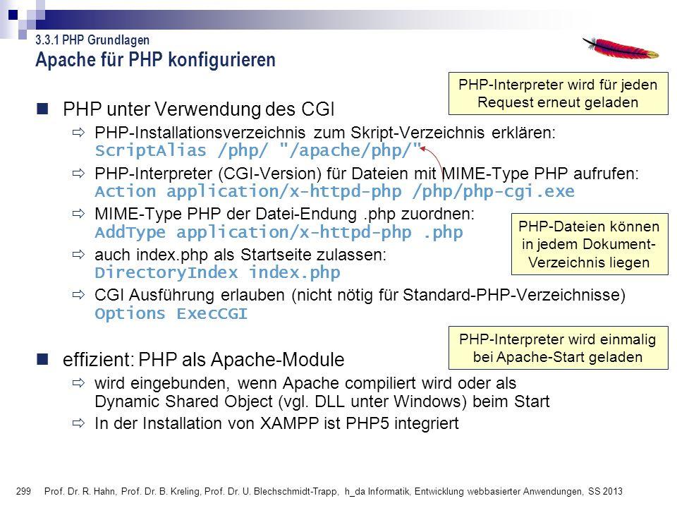 299 Prof. Dr. R. Hahn, Prof. Dr. B. Kreling, Prof. Dr. U. Blechschmidt-Trapp, h_da Informatik, Entwicklung webbasierter Anwendungen, SS 2013 PHP-Datei