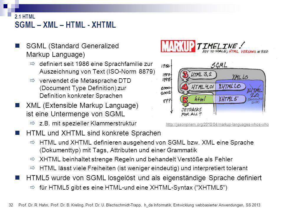 32 SGML – XML – HTML - XHTML SGML (Standard Generalized Markup Language) definiert seit 1986 eine Sprachfamilie zur Auszeichnung von Text (ISO-Norm 88