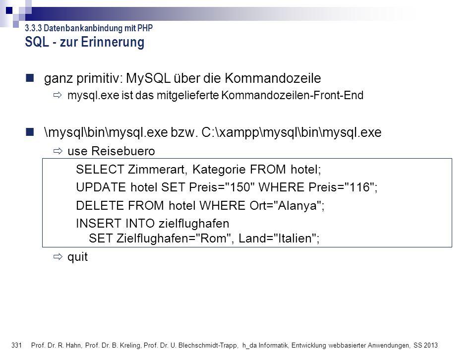 331 Prof. Dr. R. Hahn, Prof. Dr. B. Kreling, Prof. Dr. U. Blechschmidt-Trapp, h_da Informatik, Entwicklung webbasierter Anwendungen, SS 2013 ganz prim