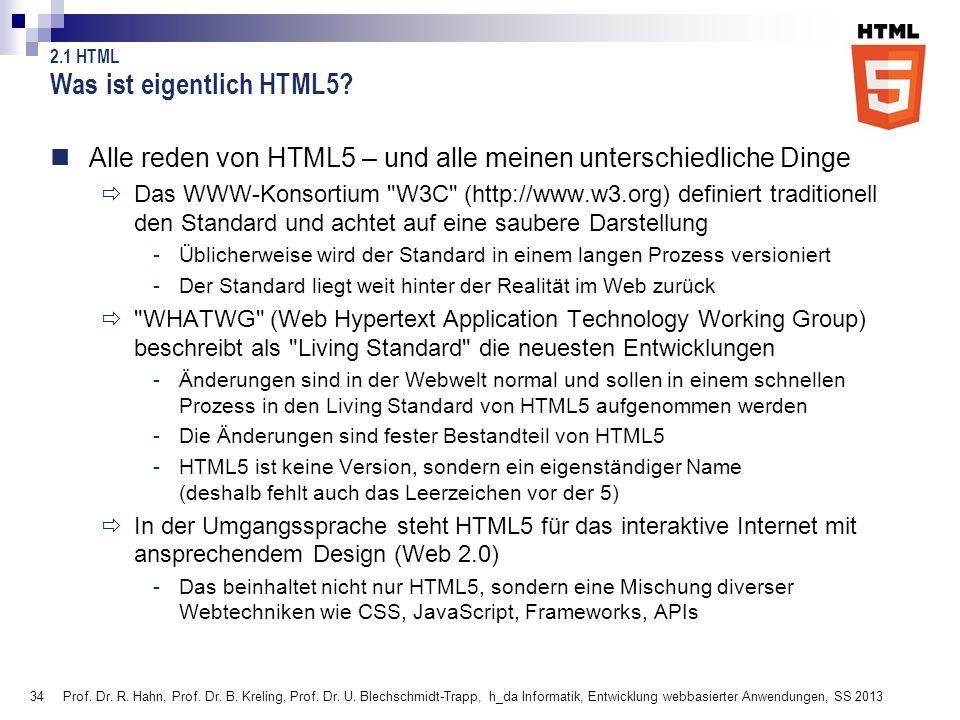 34 Prof. Dr. R. Hahn, Prof. Dr. B. Kreling, Prof. Dr. U. Blechschmidt-Trapp, h_da Informatik, Entwicklung webbasierter Anwendungen, SS 2013 Was ist ei
