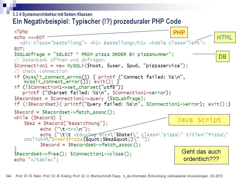344 Prof. Dr. R. Hahn, Prof. Dr. B. Kreling, Prof. Dr. U. Blechschmidt-Trapp, h_da Informatik, Entwicklung webbasierter Anwendungen, SS 2013 Ein Negat