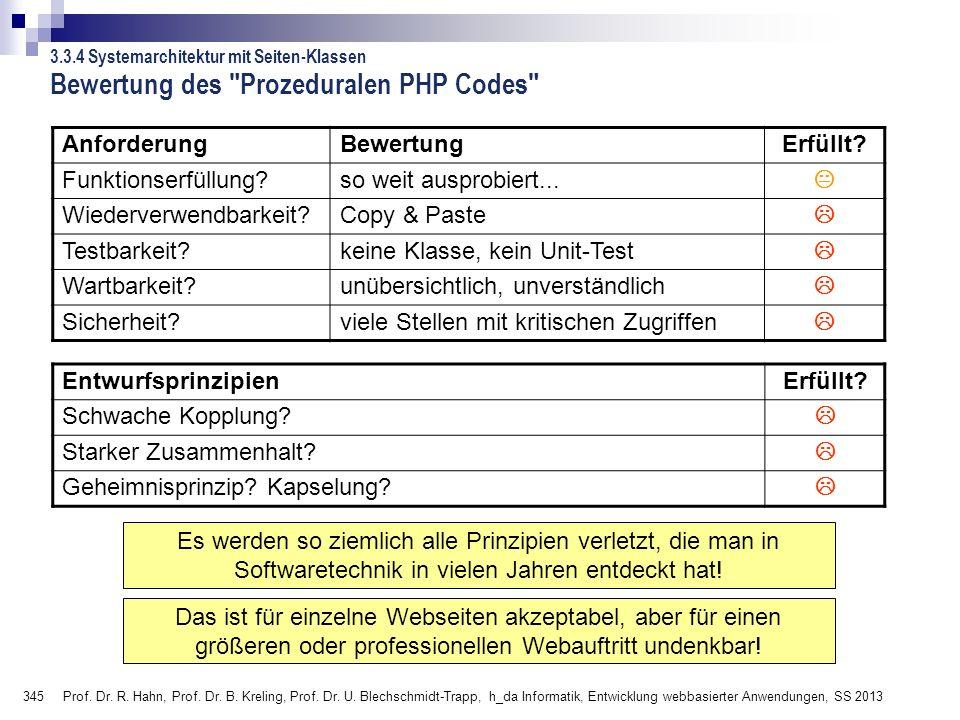 345 Prof. Dr. R. Hahn, Prof. Dr. B. Kreling, Prof. Dr. U. Blechschmidt-Trapp, h_da Informatik, Entwicklung webbasierter Anwendungen, SS 2013 Bewertung