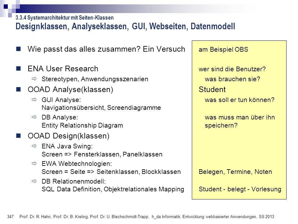 347 Prof. Dr. R. Hahn, Prof. Dr. B. Kreling, Prof. Dr. U. Blechschmidt-Trapp, h_da Informatik, Entwicklung webbasierter Anwendungen, SS 2013 Designkla