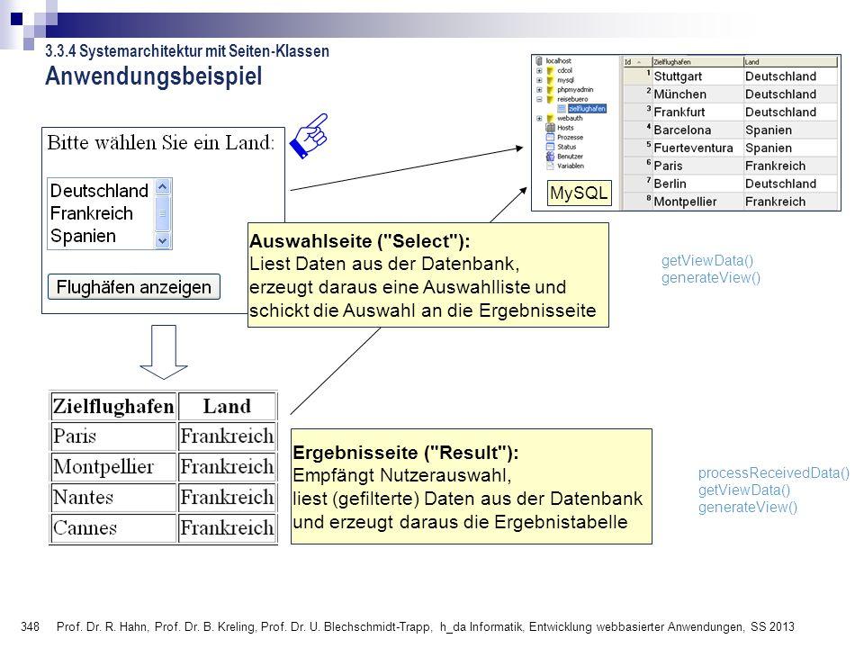 348 Prof. Dr. R. Hahn, Prof. Dr. B. Kreling, Prof. Dr. U. Blechschmidt-Trapp, h_da Informatik, Entwicklung webbasierter Anwendungen, SS 2013 Anwendung