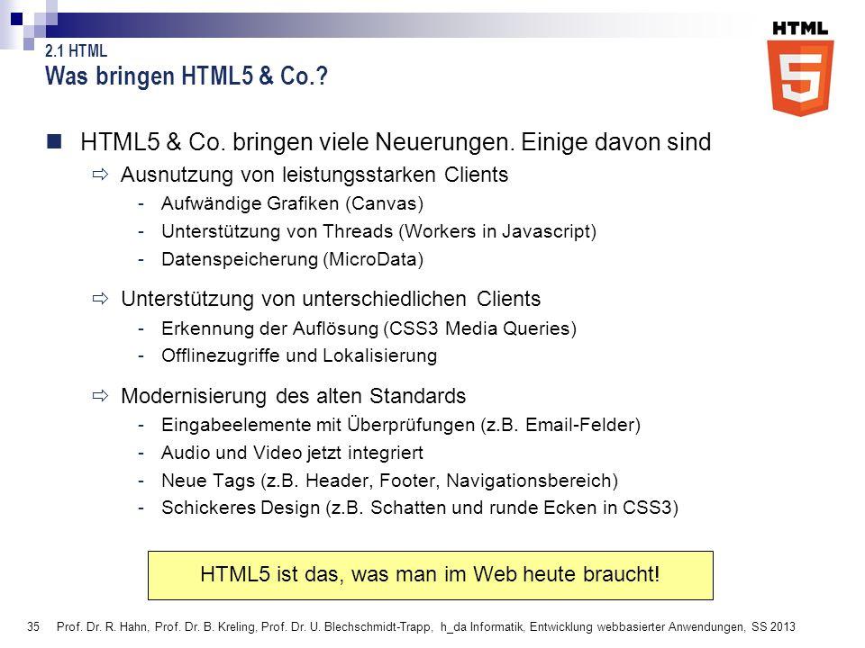 35 Prof. Dr. R. Hahn, Prof. Dr. B. Kreling, Prof. Dr. U. Blechschmidt-Trapp, h_da Informatik, Entwicklung webbasierter Anwendungen, SS 2013 Was bringe