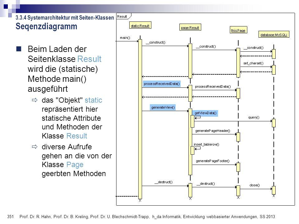 351 Prof. Dr. R. Hahn, Prof. Dr. B. Kreling, Prof. Dr. U. Blechschmidt-Trapp, h_da Informatik, Entwicklung webbasierter Anwendungen, SS 2013 Seqenzdia