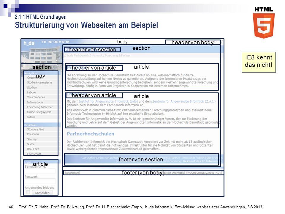 46 Strukturierung von Webseiten am Beispiel Prof. Dr. R. Hahn, Prof. Dr. B. Kreling, Prof. Dr. U. Blechschmidt-Trapp, h_da Informatik, Entwicklung web