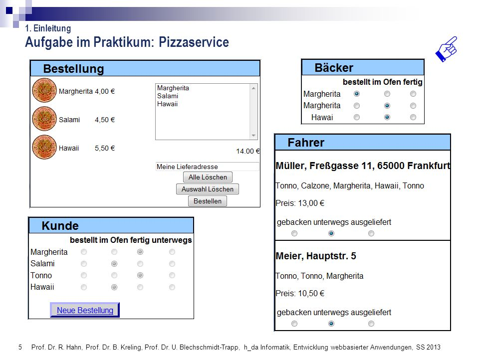 5 Prof. Dr. R. Hahn, Prof. Dr. B. Kreling, Prof. Dr. U. Blechschmidt-Trapp, h_da Informatik, Entwicklung webbasierter Anwendungen, SS 2013 Aufgabe im