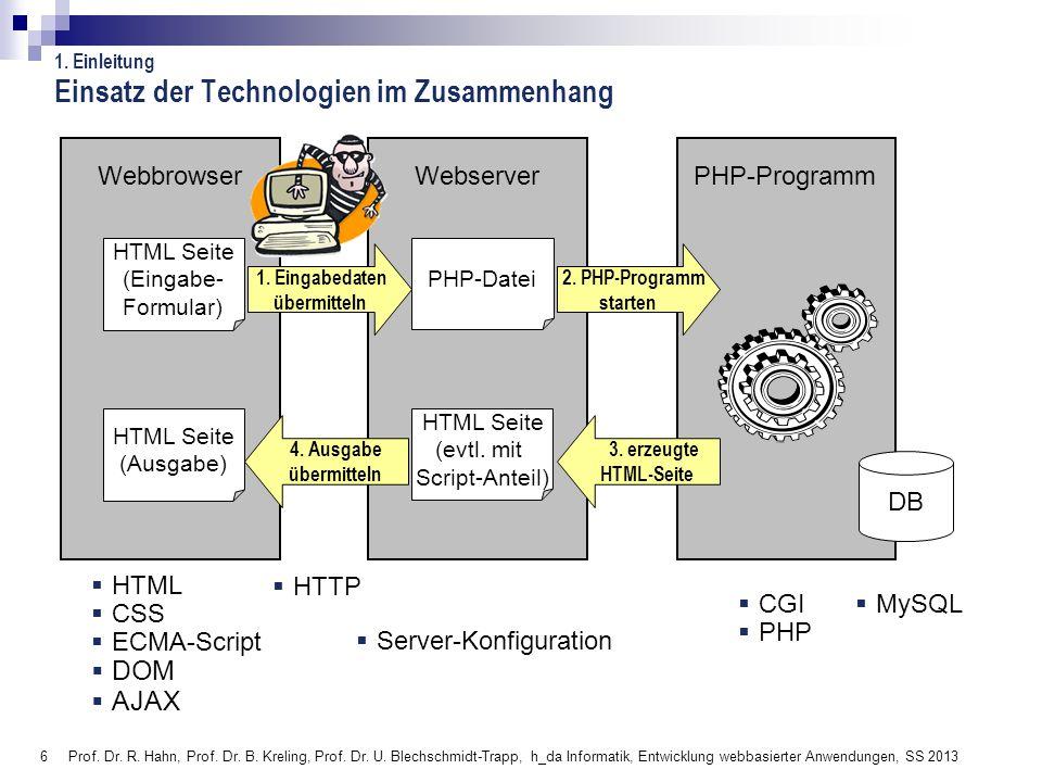 6 Prof. Dr. R. Hahn, Prof. Dr. B. Kreling, Prof. Dr. U. Blechschmidt-Trapp, h_da Informatik, Entwicklung webbasierter Anwendungen, SS 2013 Webbrowser