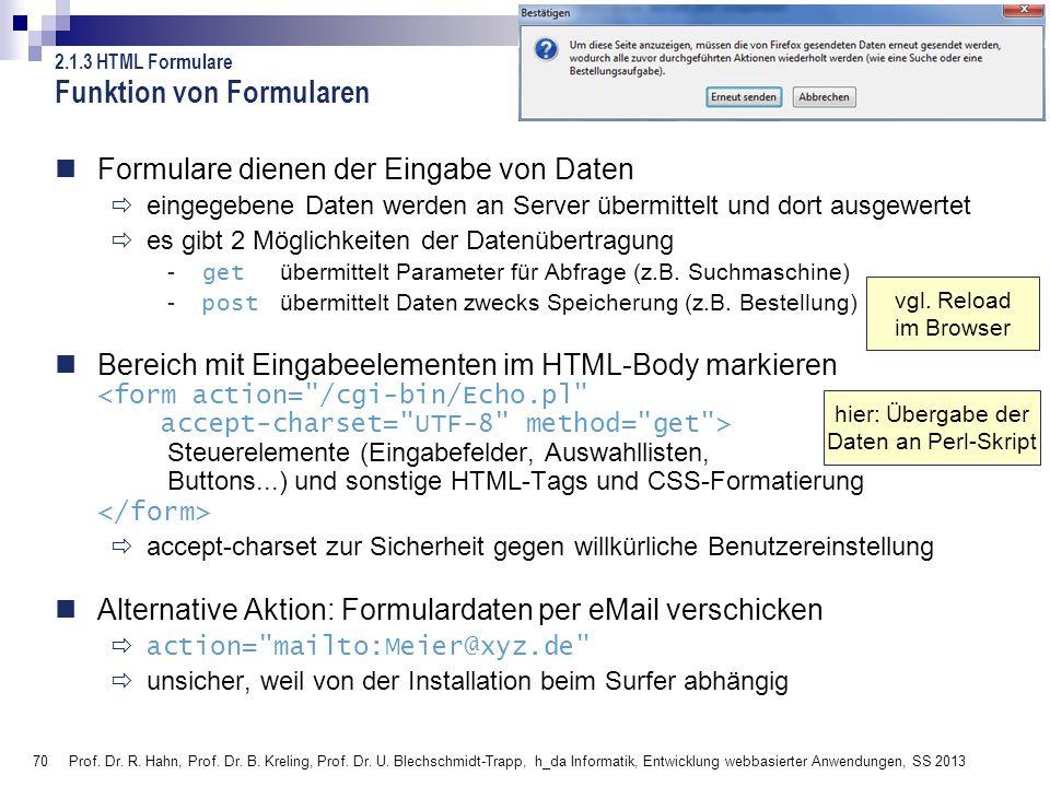 70 Prof. Dr. R. Hahn, Prof. Dr. B. Kreling, Prof. Dr. U. Blechschmidt-Trapp, h_da Informatik, Entwicklung webbasierter Anwendungen, SS 2013 Funktion v