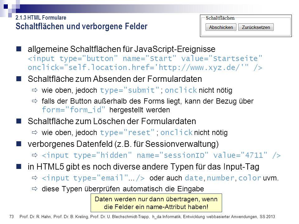 73 Prof. Dr. R. Hahn, Prof. Dr. B. Kreling, Prof. Dr. U. Blechschmidt-Trapp, h_da Informatik, Entwicklung webbasierter Anwendungen, SS 2013 Daten werd