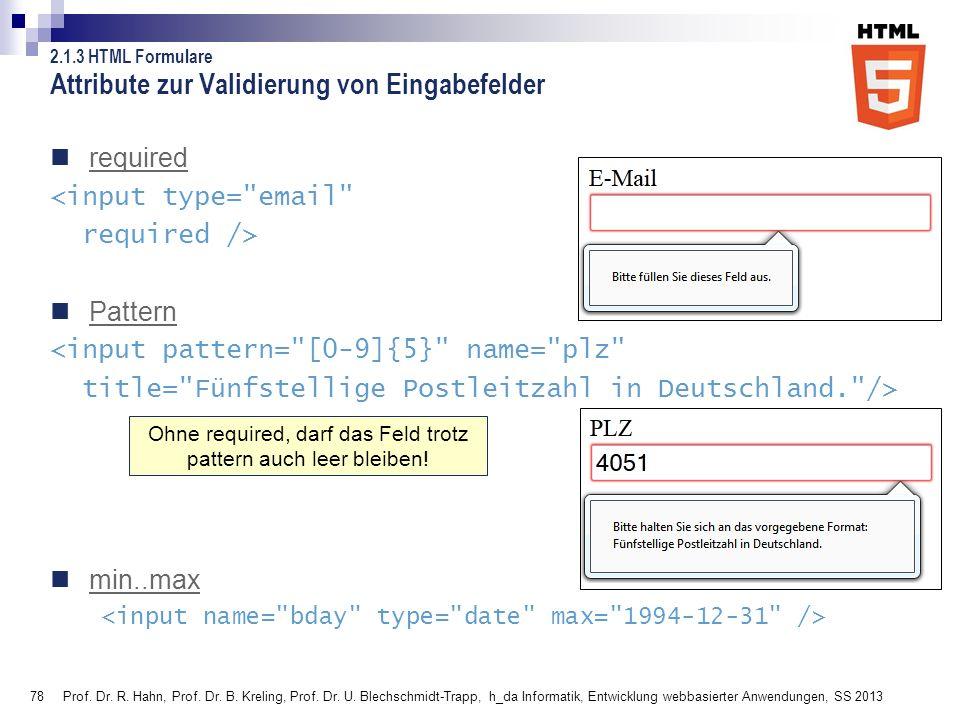 78 Attribute zur Validierung von Eingabefelder required <input type=
