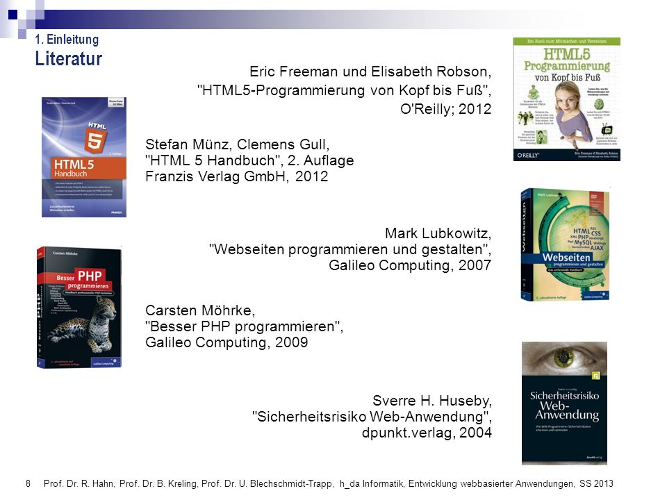 289 Prof.Dr. R. Hahn, Prof. Dr. B. Kreling, Prof.