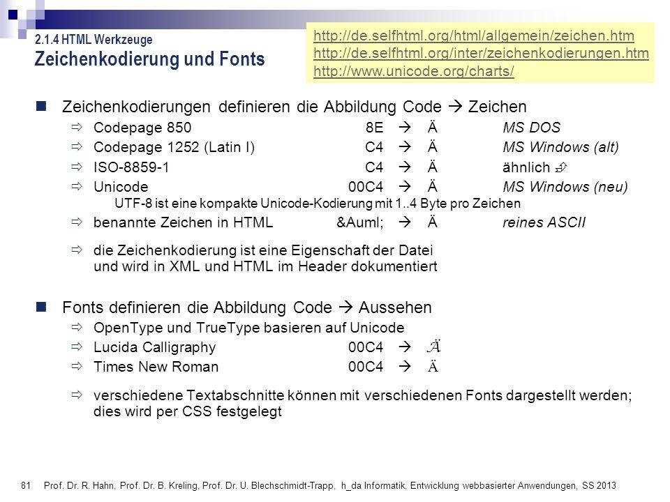 81 Prof. Dr. R. Hahn, Prof. Dr. B. Kreling, Prof. Dr. U. Blechschmidt-Trapp, h_da Informatik, Entwicklung webbasierter Anwendungen, SS 2013 Zeichenkod