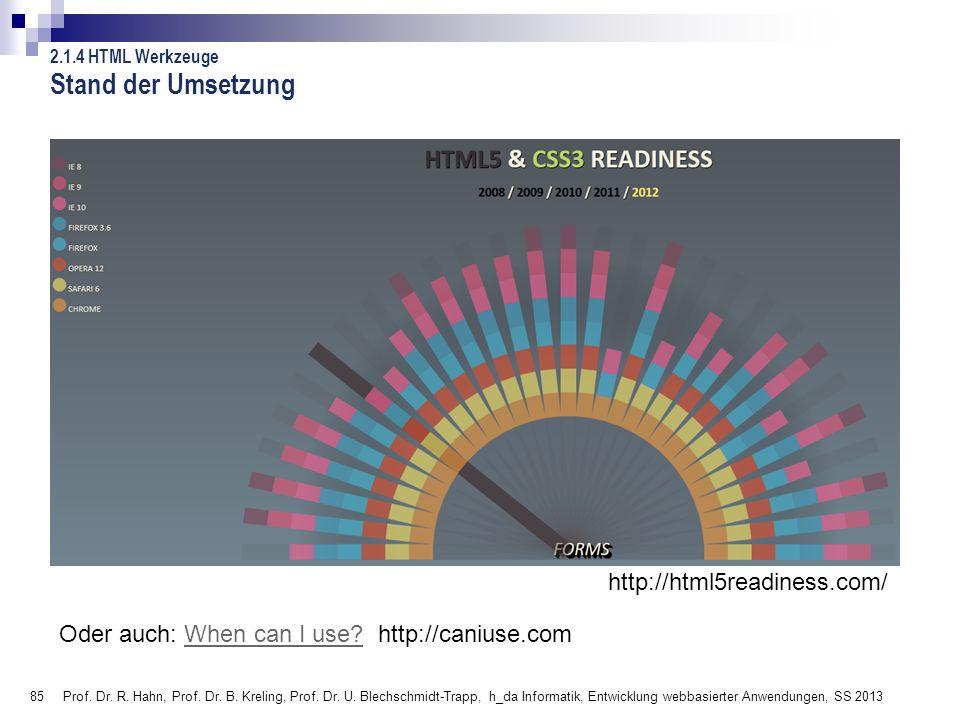 85 Stand der Umsetzung Prof. Dr. R. Hahn, Prof. Dr. B. Kreling, Prof. Dr. U. Blechschmidt-Trapp, h_da Informatik, Entwicklung webbasierter Anwendungen